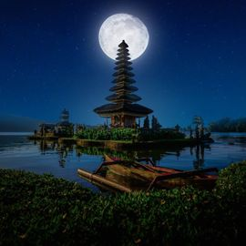 Tradition in Bali at Night Full Moon