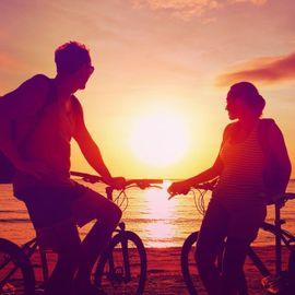 Cycling While Waiting for Sunset at Semawang Beach Sanur