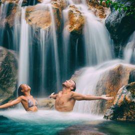 Relaxing Our Body at Padang Bulia Waterfall