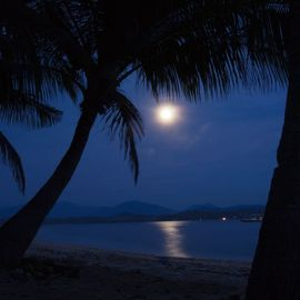 Witnessing the Beauty of the Full Moon from Purnama Beach