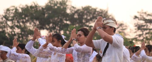 The Nunas Tirta Ritual to Protect the Residents from Any Danger